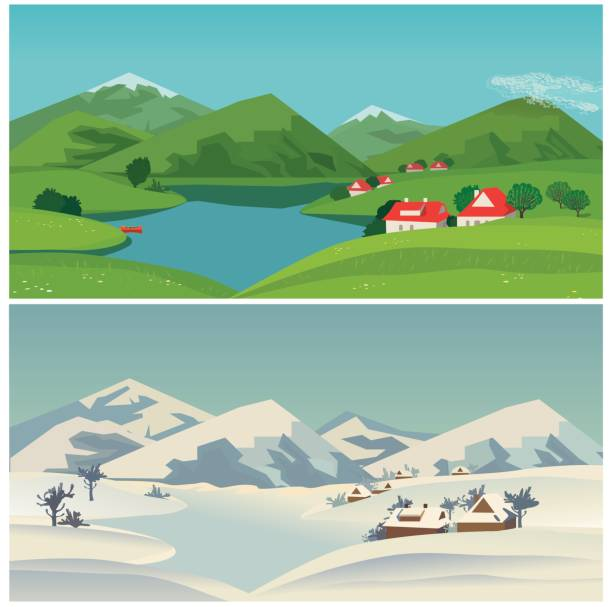 Best Snow Capped Mountains Illustrations, Royalty-Free ...
