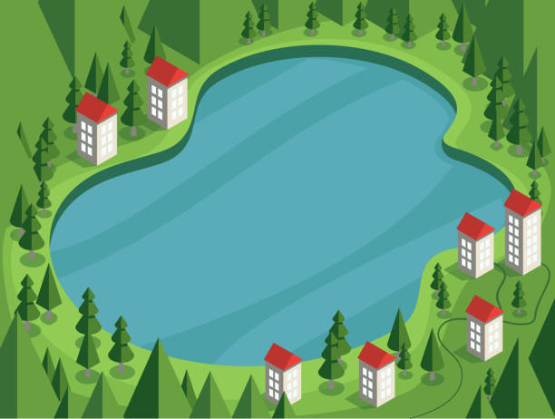mountain green valley landscape with houses on the lake bank - jezioro stock illustrations