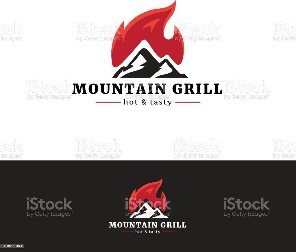 Emblema de restaurante de grelhados montanha. Emblemtype minimalista com fogo. - ilustração de arte em vetor