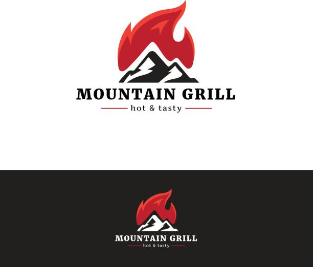 mountain grill restaurant emblem. minimalistic emblemtype with fire. - restaurant logos stock illustrations, clip art, cartoons, & icons