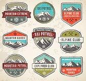 Mountain Grunge color Vector insignias