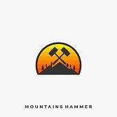 Mountain Hammer Illustration Vector Template. Suitable for Creative Industry, Multimedia, entertainment, Educations, Shop, and any related business.