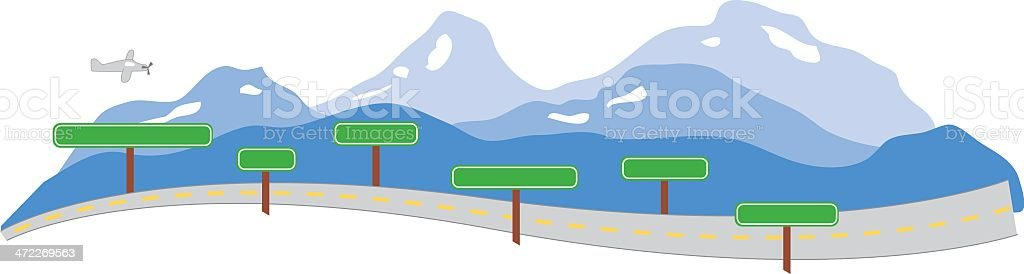 Mountain Highway Jet & Signs - Vector royalty-free mountain highway jet signs vector stock vector art & more images of air vehicle