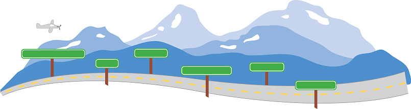 Mountain Highway Jet & Signs - Vector
