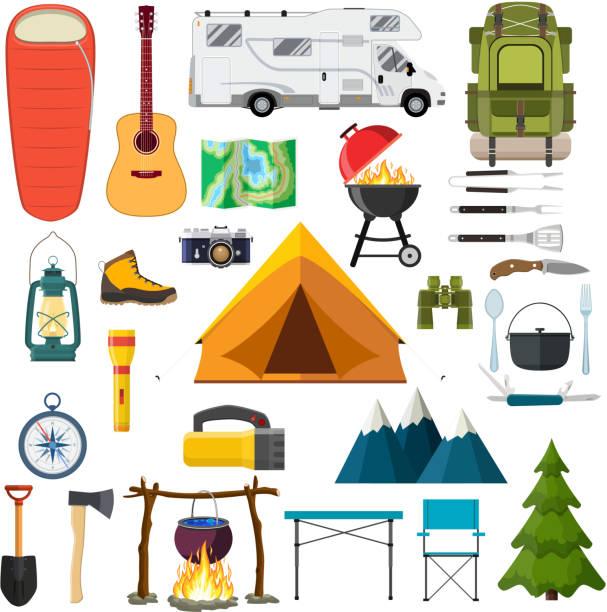 ilustrações de stock, clip art, desenhos animados e ícones de mountain hike elements. - camping