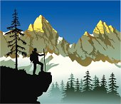Vector painting of an early bird hiker admireing sun lit mountain tops at the sunrise. All the important ellements of the picture are on separate layers for easy editing. High resolution JPG and Illustrator 0.8 EPS included.