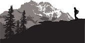 Mountain Hiking Vector Silhouette