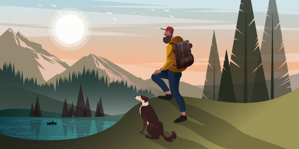 bildbanksillustrationer, clip art samt tecknat material och ikoner med bergsvandring med hund - hund skog