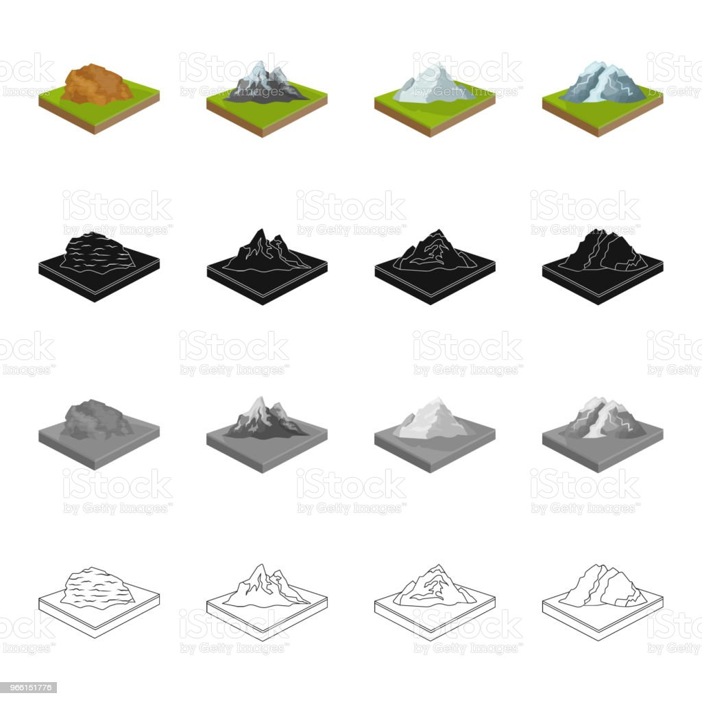 Mountain, hill, plain, and other web icon in cartoon style. Ecology, relief, mount icons in set collection. - arte vettoriale royalty-free di Albero