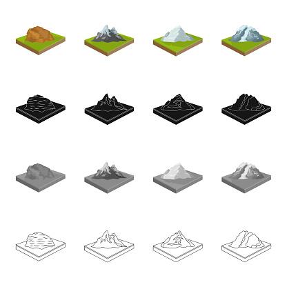 Bergsområden Slätten Och Andra Webikonen I Tecknad Stil Ekologi Lättnad Montera Ikoner I Set Samling-vektorgrafik och fler bilder på Berg