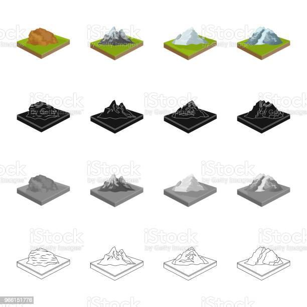 Montagna Collina Pianura E Altre Icone Web In Stile Cartone Animato Ecologia Rilievo Icone Di Montaggio Nella Collezione Di Set - Immagini vettoriali stock e altre immagini di Albero