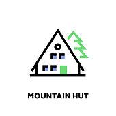 Mountain Hut Line Icon