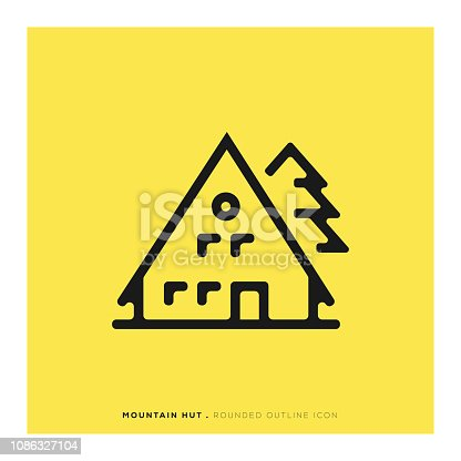 istock Mountain Hut Rounded Line Icon 1086327104