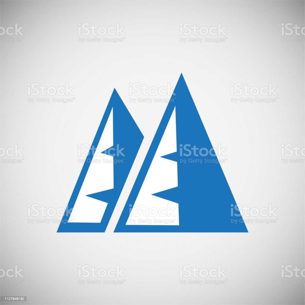 Mountain Icon Blue On White Background For Graphic And Web