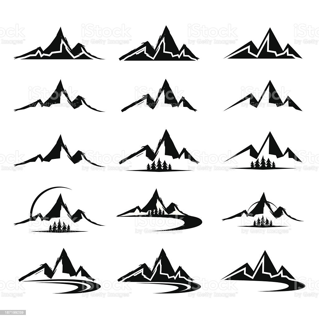 Mountain icon clipart set royalty-free mountain icon clipart set stock vector art & more images of abstract