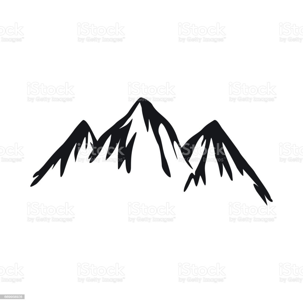 Mountain icon in simple style vector art illustration