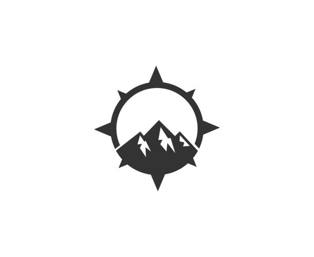 mountain icon - compass stock illustrations