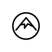 Mountain icon vector. A thin line sign. Isolated contour symbol illustration