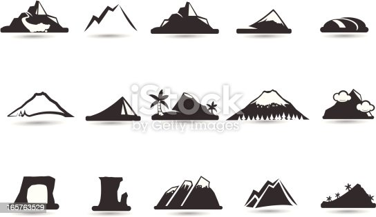 A set of mountain icons and shapes to denote the wild high frontier.