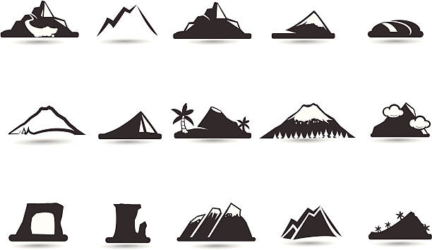 mountain icons and symbols - black and white mountain stock illustrations, clip art, cartoons, & icons