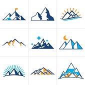 Mountain and line drawing symbol and icon collection.