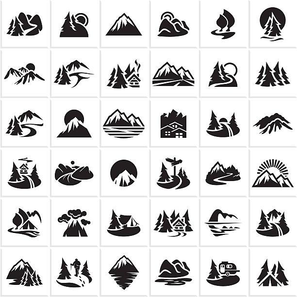 góra ikony ustaw, wzgórza, lasu - geologia stock illustrations