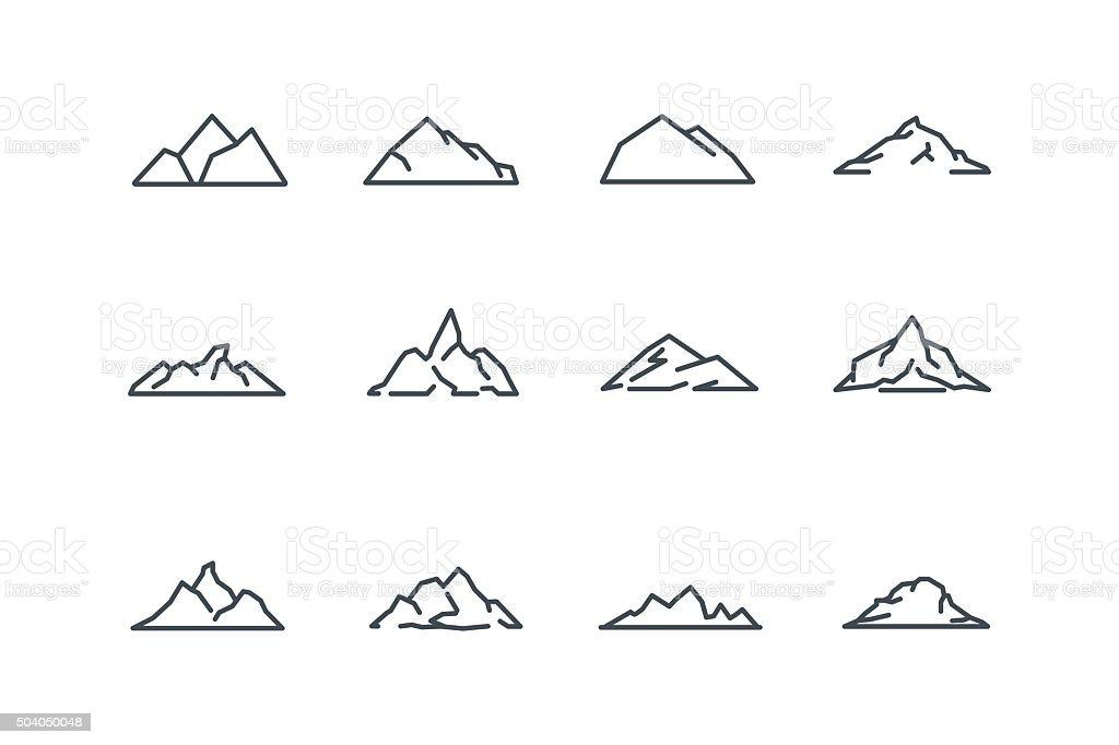 mountain icons set line art stock vector stock vector art more rh istockphoto com mountain lion art mountain line art