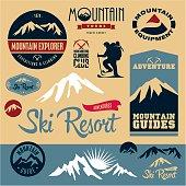 Mountain icons set. Mountain climbing. Climber. Ski Resort labels collection.
