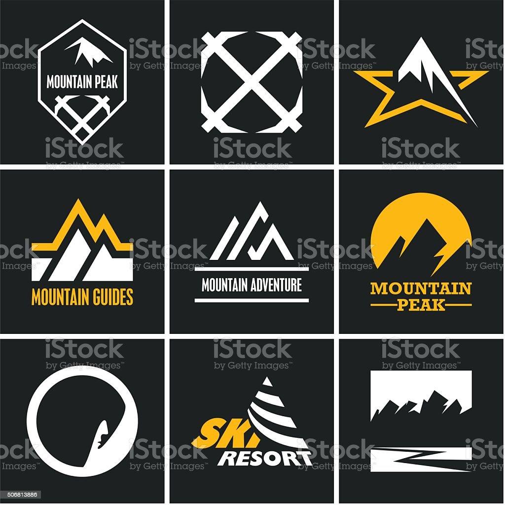 Mountain icons set. Mountain climbing. vector art illustration
