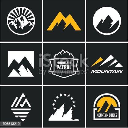 Mountain icons set. Mountain logo.