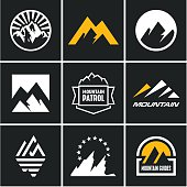 Mountain icons set. Mountain logo.