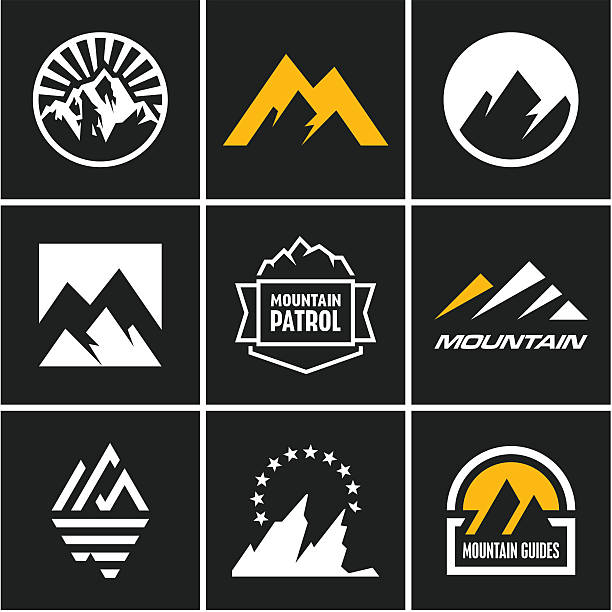 Mountain icons set Mountain icons set. Mountain logo. mountain top stock illustrations