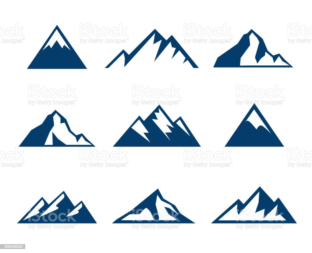 Mountain Icons - Symbols royalty-free mountain icons symbols stock illustration - download image now