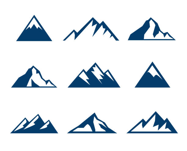 Mountain Icons - Symbols Collection of mountains icons - symbols mountain top stock illustrations