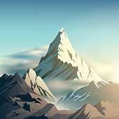 Mountain with clouds illustration in vector