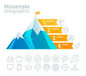 Mountain infographic success climbing concept.