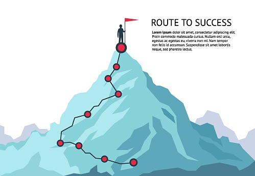 Mountain Journey Path Route Challenge Infographic Career ...