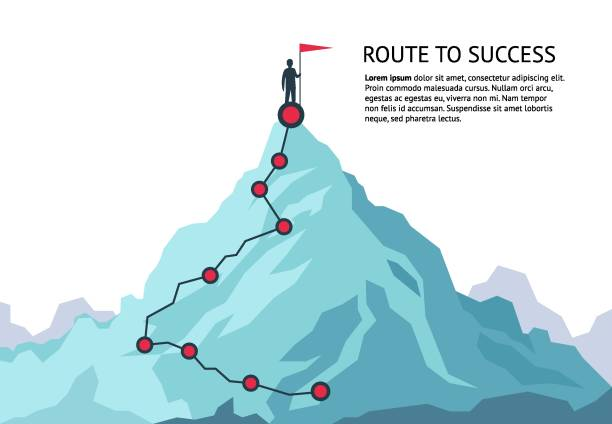 Mountain journey path. Route challenge infographic career top goal growth plan journey to success. Business climbing concept Mountain journey path. Route challenge infographic career top goal growth plan journey to success. Business climbing vector concept mountain climbing stock illustrations
