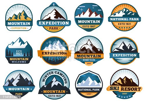 Mountain labels. Hiking emblems, mountains emblem badges and outdoors hill travel label. Snow mountains tourism logo or hike mountaineering expedition patch. Vector isolated sign set