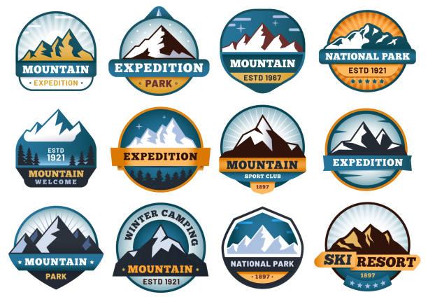 illustrazioni stock, clip art, cartoni animati e icone di tendenza di mountain labels. hiking emblems, mountains emblem badges and outdoors hill travel label vector set - pezze di stoffa