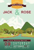 Mountain lake and village wedding invitation card template