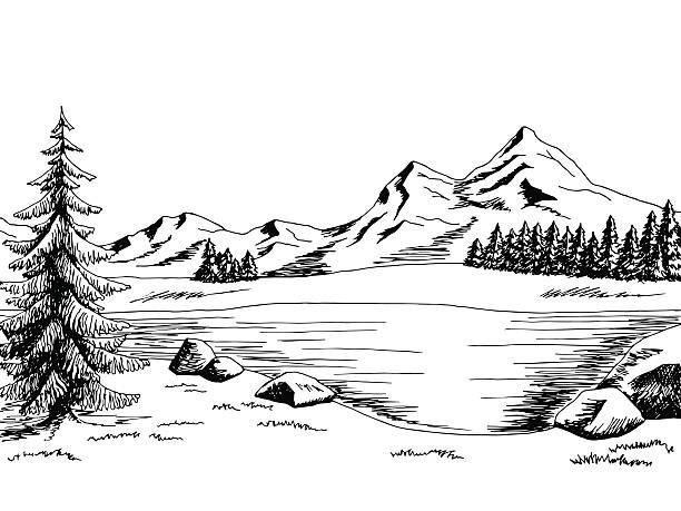 ilustraciones, imágenes clip art, dibujos animados e iconos de stock de lago de montaña arte gráfico ilustración de vector blanco y negro panorama - lago