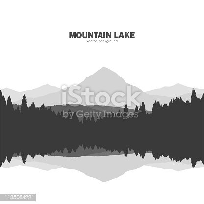 Vector illustration: Mountain Lake landscape silhouette with pine forest and reflection.