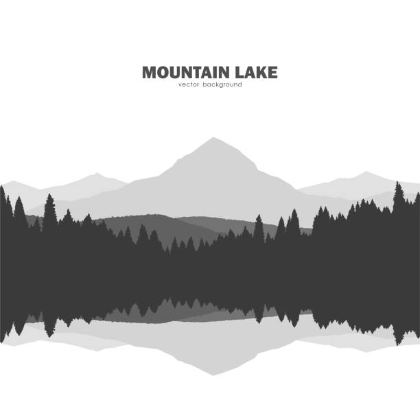 mountain lake landscape silhouette with pine forest and reflection. - jezioro stock illustrations