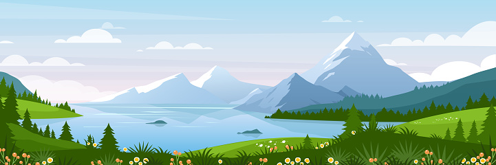 Mountain lake landscape vector illustration, cartoon flat panorama of spring summer beautiful nature, green grasslands meadow with flowers background