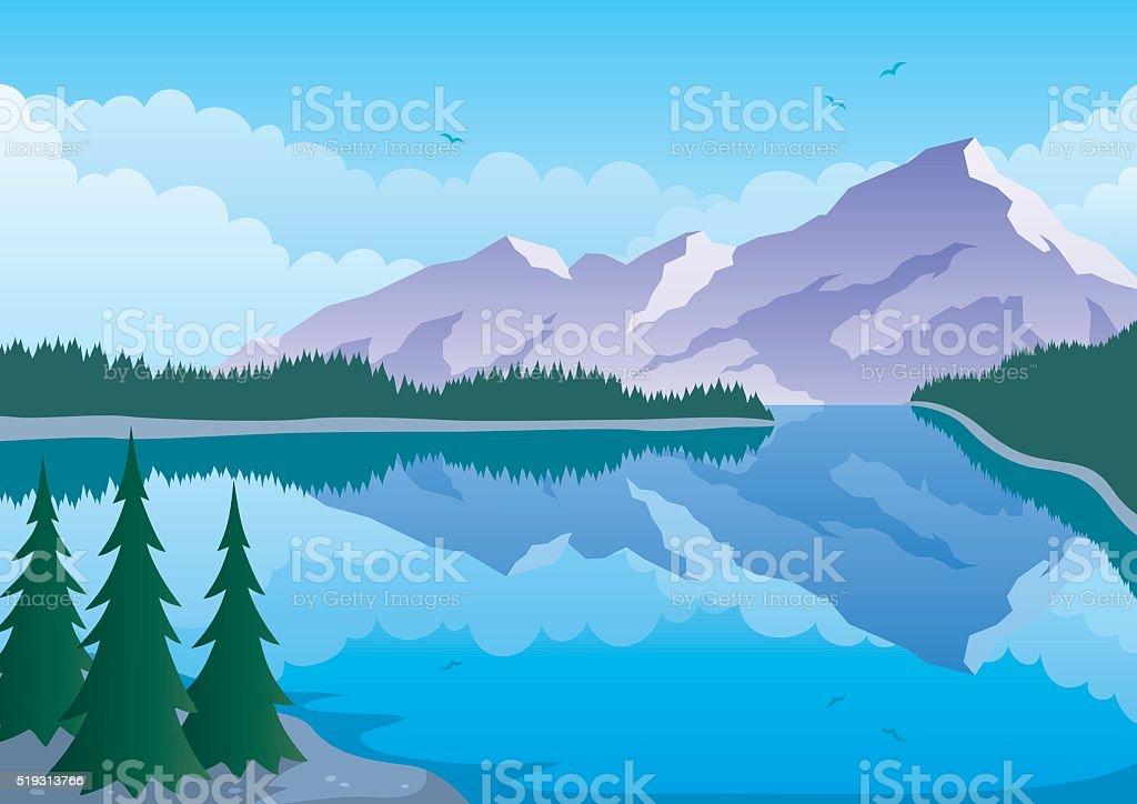 Mountain Lake vector art illustration