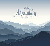 Mountain landscape and elements logo.