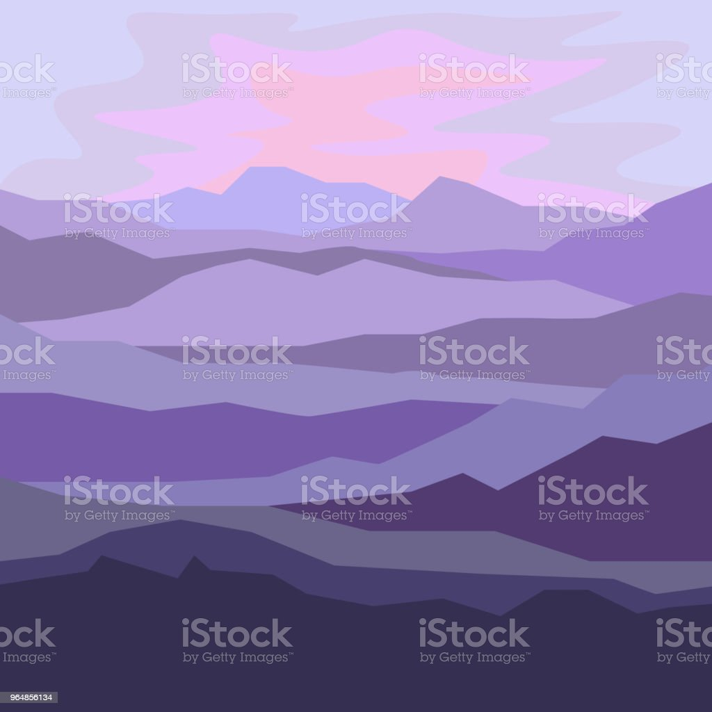 Mountain landscape at dawn, light and shadow royalty-free mountain landscape at dawn light and shadow stock illustration - download image now