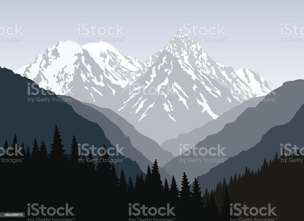 Mountain landscape at morning. Snow-covered mountain. vector art illustration