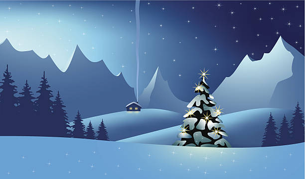 stockillustraties, clipart, cartoons en iconen met mountain landscape at the christmas time - christmas cabin
